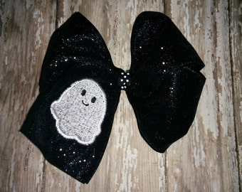 Girl Girls Toddler Baby Embroidered White Ghost Black Glitter Bow Boutique! Hair Accessory! Fall Halloween