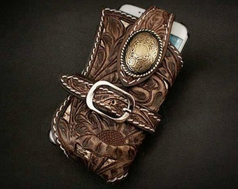 Western Leather iPhone Case Metal  Concho K01C29