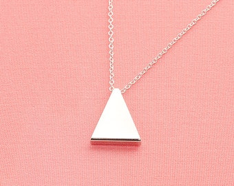 Original Rhodium Plated, Simple Triangle Tube  Pendant, Necklace
