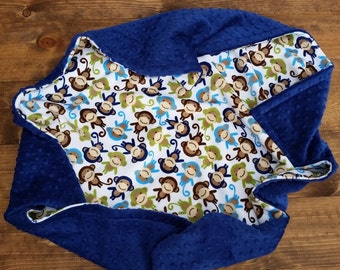 Personalized Baby Blanket, Baby Boy Minky Blanket, Monkey Minky Blanket, Monkey Baby Blanket, Boy Baby Blanket