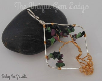 Ruby In Zoisite Wire Wrapped Tree Of Life Pendant ~ Gemstone Crystal Healing ~ Handmade Ooak