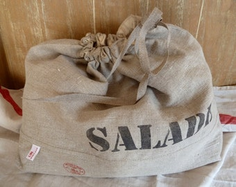 Salad pouch. Raw linen lined with organic cotton.