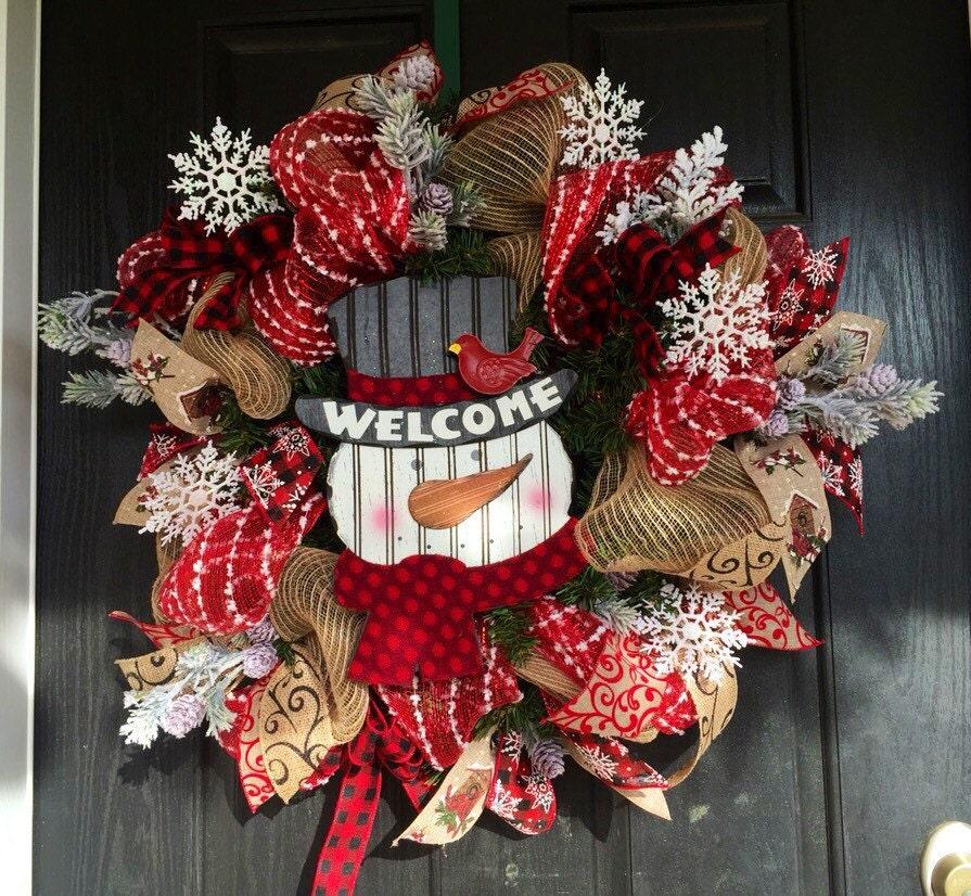 Garland For Front Door: Snowman Burlap Wreath Front Door Wreath Holiday Wreath