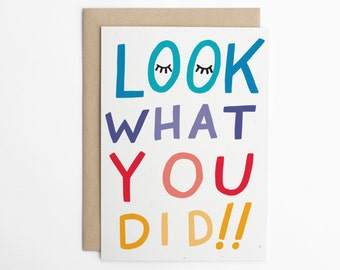 Congratulations Card - Look What You Did!! Congrats, Good Luck Card, New Job Card, Graduation Card, Achievement Card/C-297