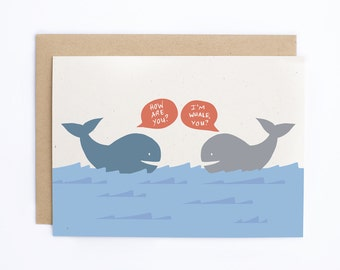 Thinking Of You Card, Cute Friendship Card, Whale Card - Just Because Card - Notecard - Hello Card - Greeting Card/C-114
