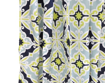 Aqua, Navy & Lime Green Curtain Panels for Nursery or Kid's Room | Starburst in Kiwi