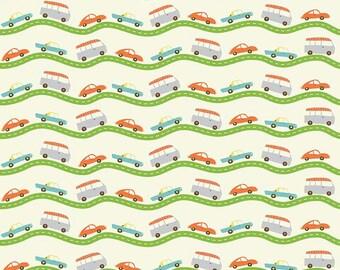 Wheels 2 Road in Cream by Deena Rutter for Riley Blake Designs