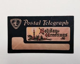 Postal Telegraph Holiday Greetings Envelope Vintage 1930s