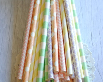 Pastel Paper Straws | Paper Drinking Straws, Party Supplies, Bridal Shower, Baby Shower, Ecofriendly Party Supplies 027