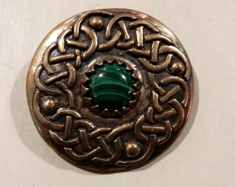 Celtic Knot Brooch with Malachite