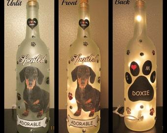 Dachshund (black and tan)  Wine Bottle Night Light