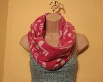 Pink music note fleece single loop infinity scarf