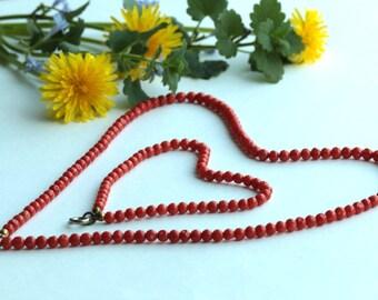 Vintage Red Coral Necklace and Bracelet Set