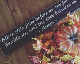 Bless this food before us Sign - Primitive Signs - Primitive Kitchen Signs - Primitive Wall Decor - Primitive Wood Signs