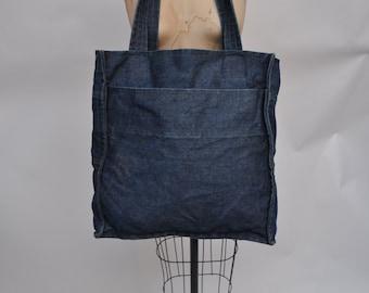 vintage denim tote LARGE bag indigo 1980s carry all shopping grocery bag