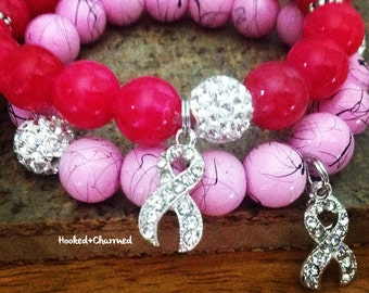 Breast Cancer Awareness Bracelets | Get & Encourage others to Get a Mammogram! Rhinestone Charm