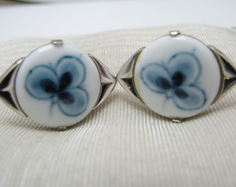 Vintage Handsome Delft Cuff links in Sterling