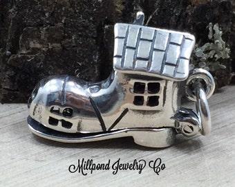 Woman in A Shoe Charm, Shoe Charm, Shoe House Charm, Nursery Rhyme Charm, Fairy Tale Charm, Childhood Stories, Sterling Silver