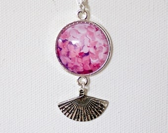 Pink Hydrangea Flower Floral Necklace Silver Finish Pendant Necklace with Fan Charm