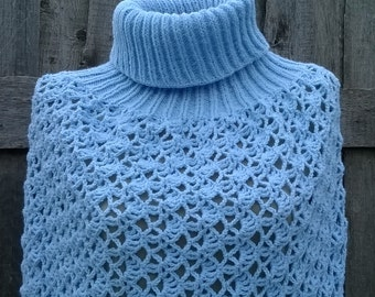 Crochet poncho, knitted cape, poncho sweater, blue poncho, ponchos, shawls and wraps, fall poncho, christmas gift for her, women ponchos