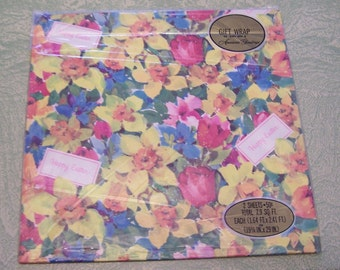 Easter gift wrap etsy vintage american greetings floral flowers happy easter gift wrap wrapping paper in package negle Image collections