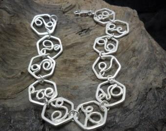 Hex link sterling silver bracelet