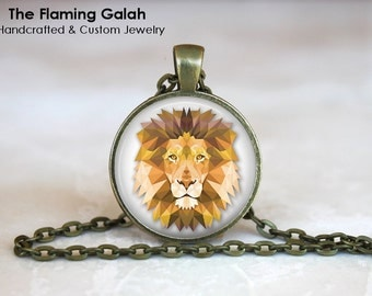 LION FACE Pendant •  Geometric Lion Head •  King of Jungle • Gift Under 20 • Made in Australia (P0275)