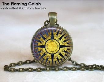 COMPASS ROSE Pendant • Yellow Compass • Going Away Gift • Traveler Gift • Adventure • Gift Under 20 • Made in Australia (P0746)