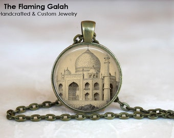 TAJ MAHAL Pendant •  Palace of Agra •  Vintage Taj Mahal •  Vintage Agra Palace •  Indian Art Charm •  Made in Australia •  (P0739)