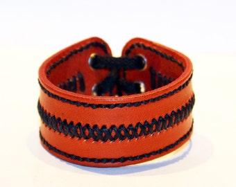 Orange Leather Cuff Bracelet! Unique Leather Gift! Hight quality item! Orange Bracelet! Leather Accessories!