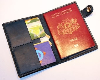 Leather Passport Cover! Leather Passport Holder! Leather Travel Passport Cover! Blue Handmade Passport Cover! SALE