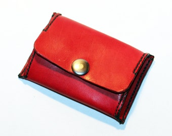 Leather coin wallet, red coin wallet, great leather item, red men's wallet, small coin wallet, gift for men.