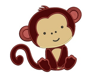 Monkey Applique Digitized Machine Embroidery Design Construction Pattern - sizes to fit 4x4 , 5x7, and 6x10 hoops