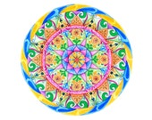 Watercolor mandala for meditation and home decoration; sacred geometry with lotus flower; ideal as wedding gift idea.