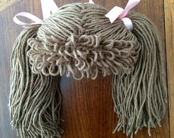 Cabbage patch inspired hat with pig tails