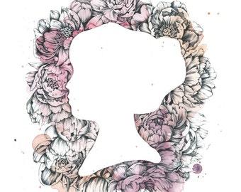 Floral Cameo- Framed Original Artwork