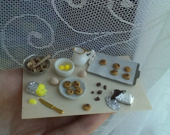 Miniature dollhouse 1/12scale preparation board scene choc chio cookies biscuits