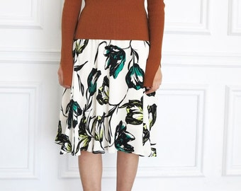 Jia Skirt -tulip floral print flare a-line skirt