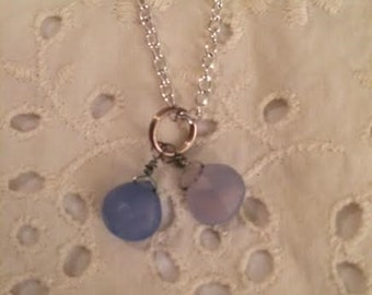 Double Periwinkle Blue Faceted Chalcedony Briolette Necklace Pendant