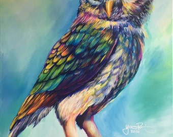 Colorful Owl Modern Acrylic Painting on Canvas