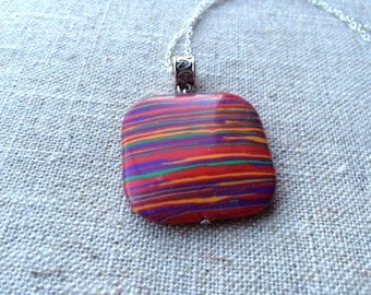 Vibrant Rainbow Calsilica Pendant Necklace on Sterling Silver Chain