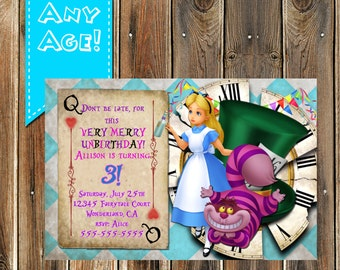 Alice in Wonderland Birthday Invitation, Alice in Wonderland Birthday party Invitation, Alice in Wonderland party ideas, Un-Birthday
