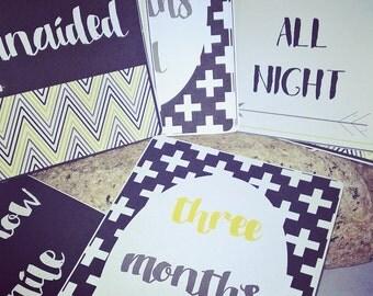 Funny Humorous alternative monochrome Baby milestone cards