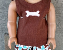 """PJs for American Girl Doll/AG Doll/18"""" Doll-Flannel Dog Bone Print Pants and Brown Ribbed Knit Tank"""