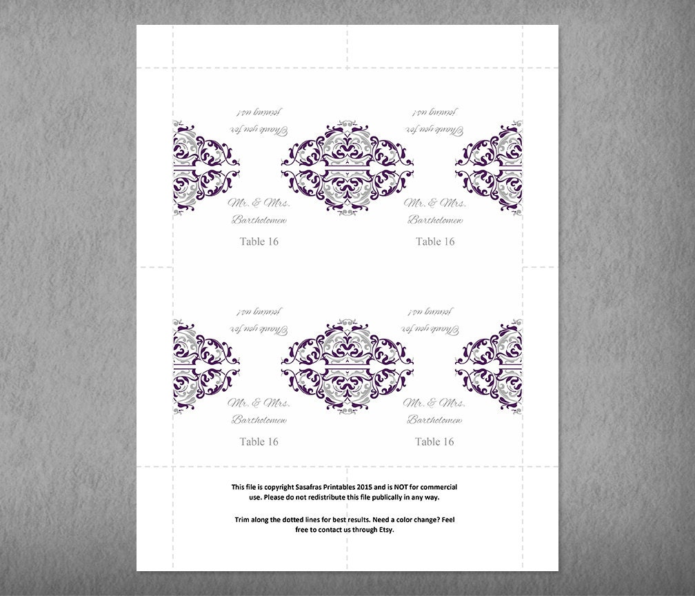 Purple Wedding Placecard Template, Printable Name Card Template ...