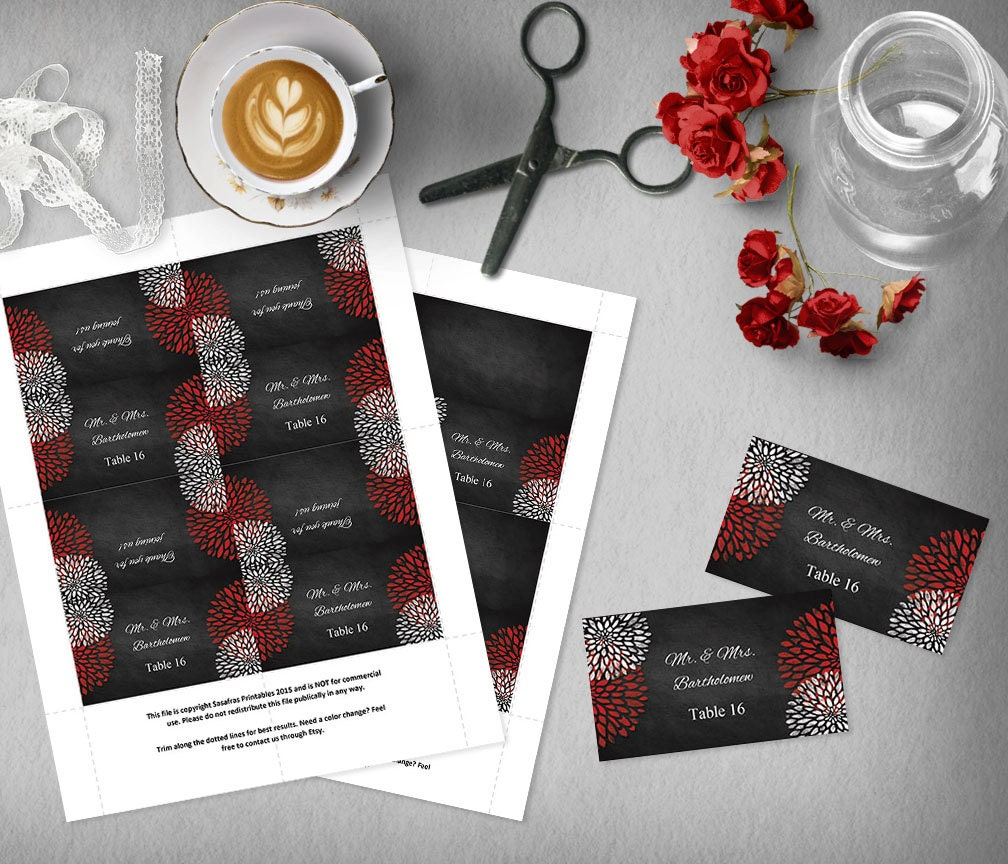 Black and Red Wedding Escort Card Template, Printable Place Card ...