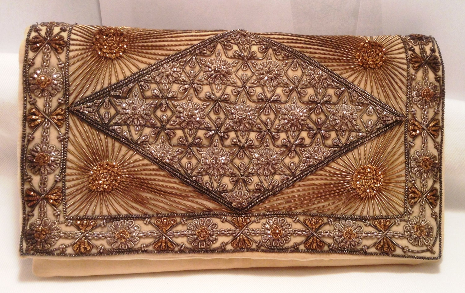 Vintage embroidered clutch purse baboo mull co