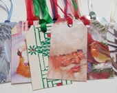 CHRISTMAS GIFT TAGS Recycled Greeting Cards Non Religious Set of 25