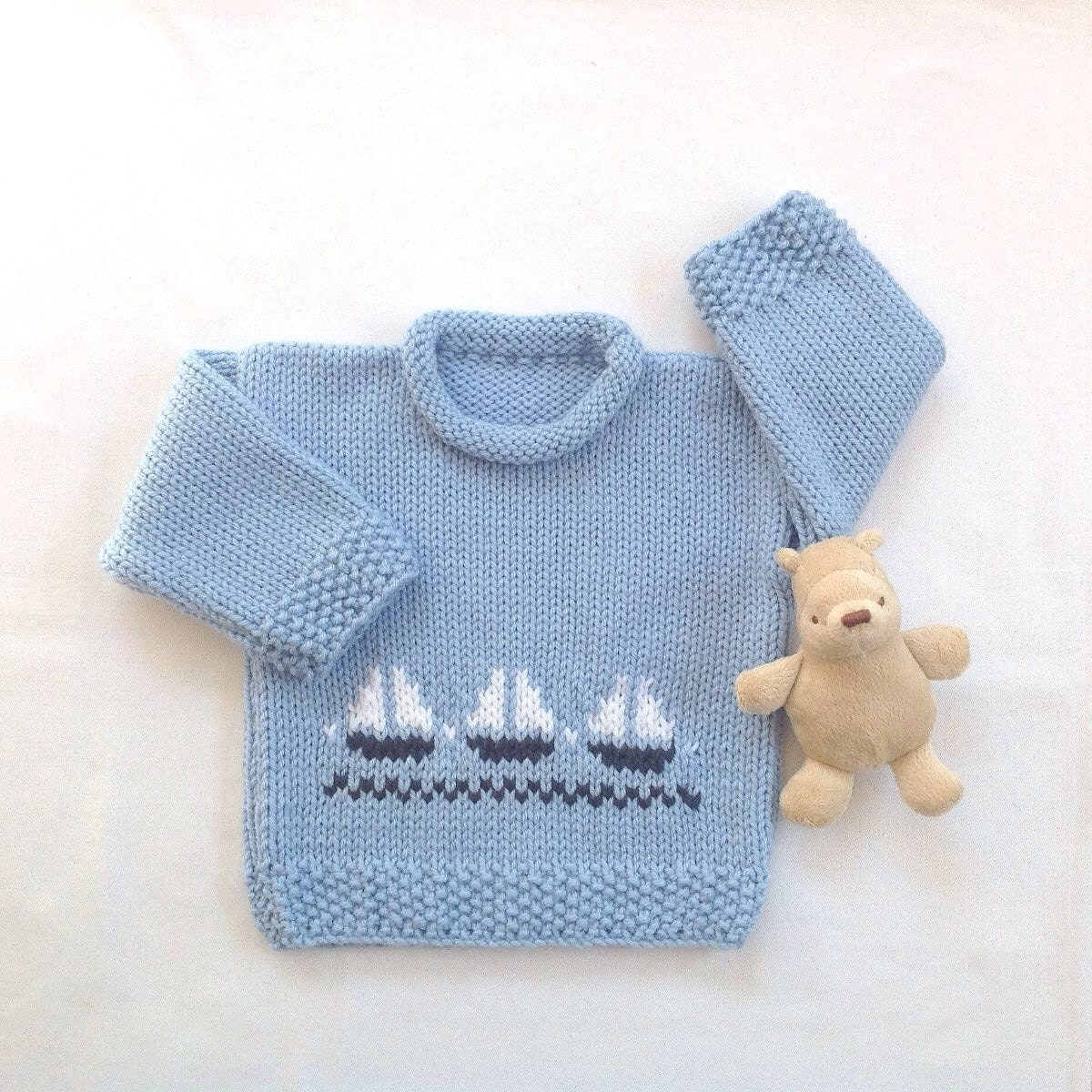 Knitting Pattern Baby Boy Jumper : Baby boy sweater - 6 to 12 months - Infant knit jumper - Childs knitted sweat...