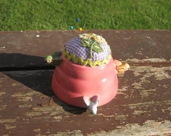 Vintage Honey Pot Upcycled as Pincushion